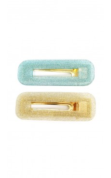 2-piece Glitter Rectangle Hair Clip Set - Gold/Sea Green