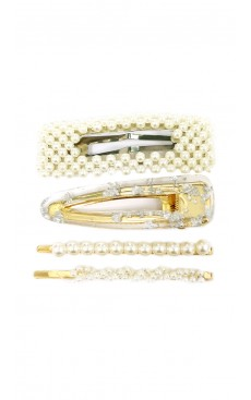 4-piece Pearl Freckle Hair Clip & Pin Set - White/Gold
