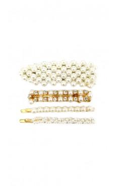 4-piece Pearl Diamante Hair Clip & Pin Set - White/Gold