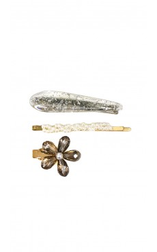 3-piece Mix Hair Clip & Pin Set - White/Silver