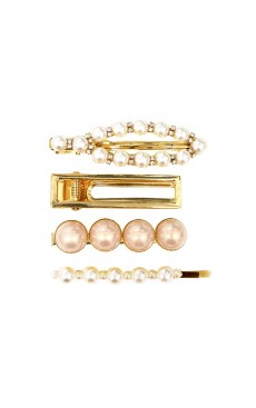 4-piece Pearl Diamante Hair Clip & Pin Set - White/Pink