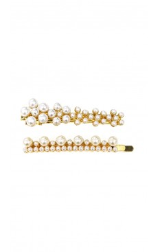 2-piece Pearl Hair Clip & Pin Set - White/Gold