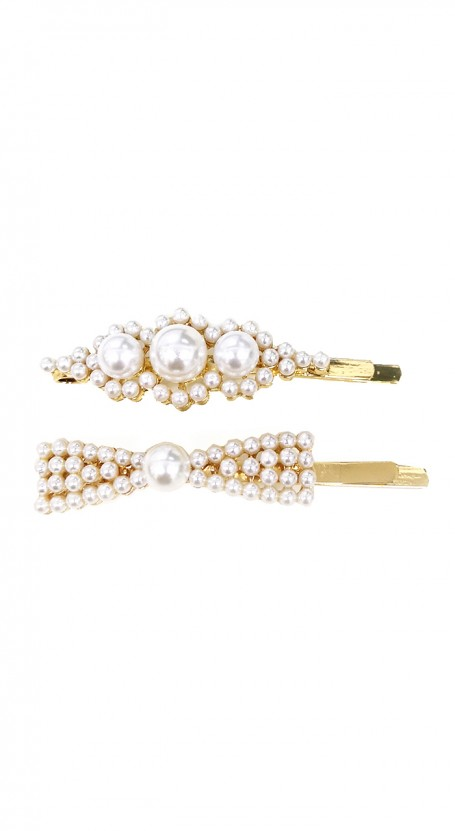 2-piece Pearl Bow Hair Pin Set - White/Gold