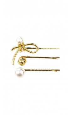 3-piece Ribbon Pearl Hair Pin Set - White/Gold