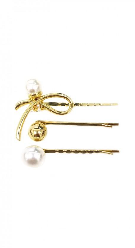 3-piece Ribbon Pearl Hair Pin Set - White/Gold