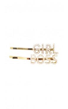 2-piece Girl Boss Hair Pin Set - White/Gold