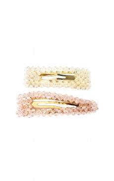 2-piece Bead Snap Hair Clip Set - White/Pink