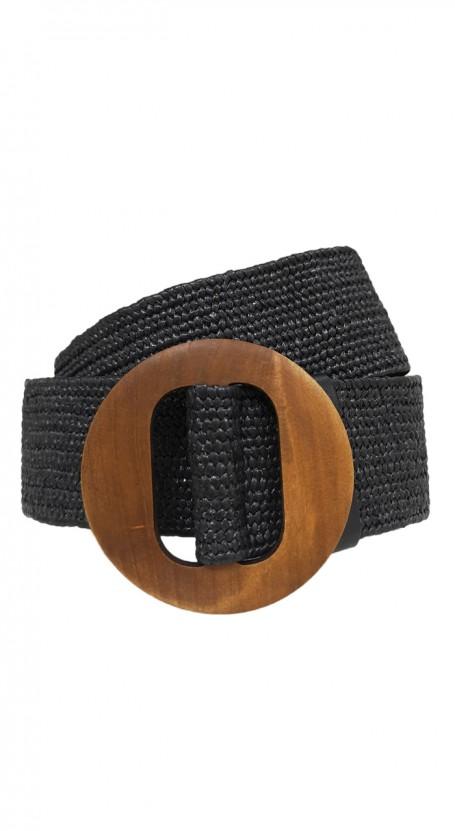 Wooden Round Buckle Belt - Black