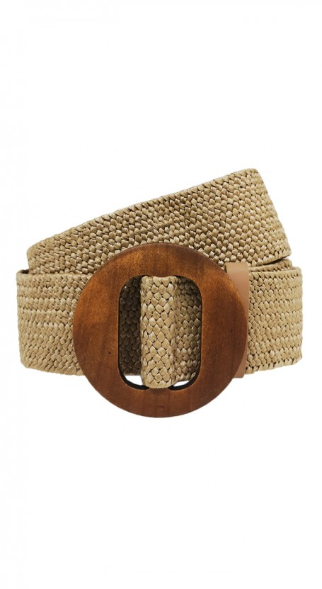 Wooden Round Buckle Belt - Straw