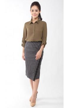 Pencil Skirt - Black Stripe