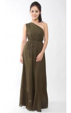 One Shoulder Maxi Dress - Dark Green