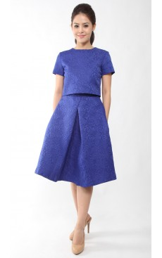Pleat Midi Skirt - Dazzling Blue