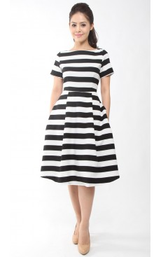 Stripe Midi Dress - Black
