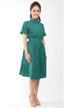 Button Down Midi Dress - Alpine Green