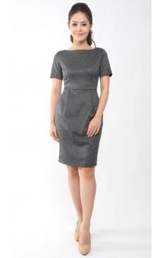 Fitted Pencil Dress - Dark Grey Marl