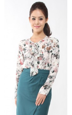 Pussy Bow LS Blouse - White Floral