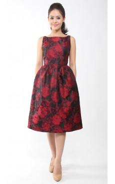 Boat Neck Midi Dress - Red Floral