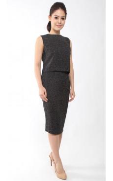 Tweed Pencil Skirt - Black