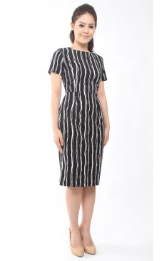 Pencil Dress - Black Stripe
