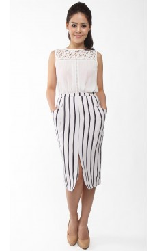 Pocket Pencil Skirt - White Stripe