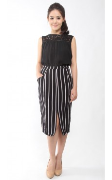 Pocket Pencil Skirt - Black Stripe