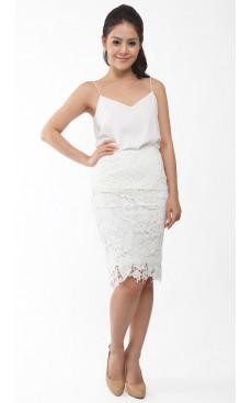 Crochet Lace Pencil Skirt - White