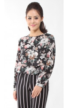 Layered Crop LS Blouse - Black Floral