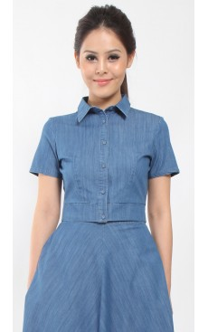 Denim Crop Shirt - Blue