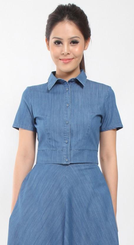 Denim Crop Shirt - Blue