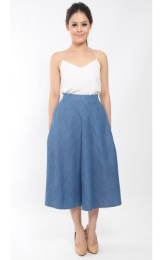 Denim Long Midi Skirt - Blue