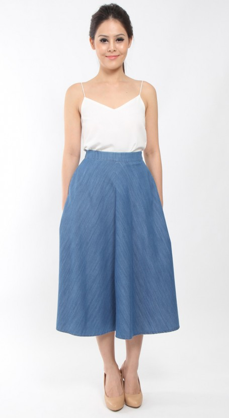 Long Midi Skirt - Blue