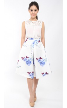 BLOSSOM Pleat Midi Skirt - White