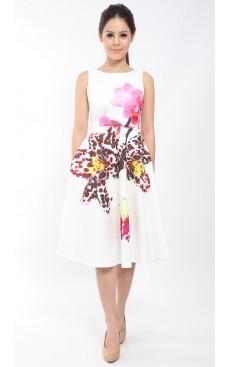 BOTANICA Midi Tea Dress - White