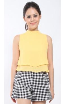 High Neck Crop Top - Yellow