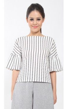 Bubble Sleeve Top - White with Black Stripe